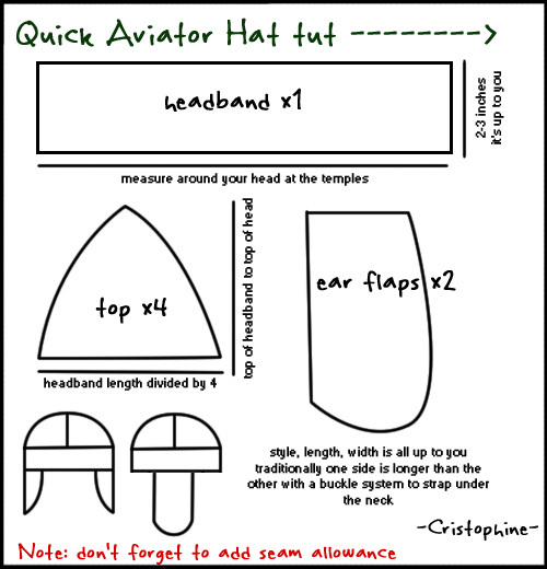 aviator cap tutorial above by Christophine on DeviantART