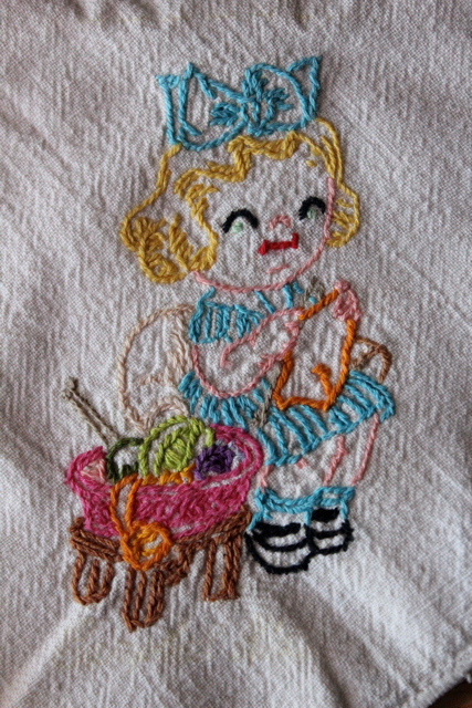 My Family's Crafts: Embroidered Antique Dish Towel
