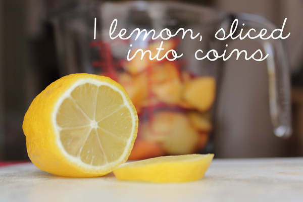 One small lemon, slided into coins.
