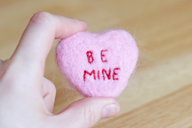 Needle Felted Conversation Heart | Hands Occupied for blog.goodsmiths.com