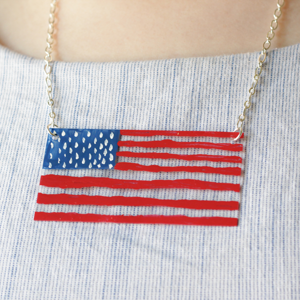 How-to: Painted Acrylic Flag Necklace - HandsOccupied.com