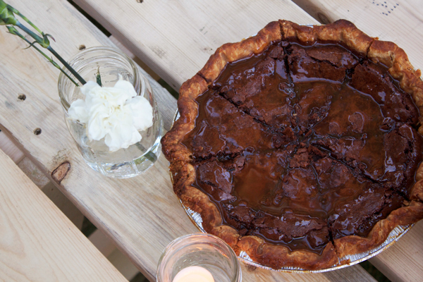 Bang Bang Pie's Chocolate Chess Pie with Bourbon Caramel Drizzle | Hands Occupied