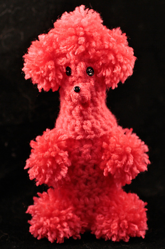 Ravelry user dancingferret's amigurumi poodle nip bottle cover based on the amigurumi nail polish cover at Hands Occupied.