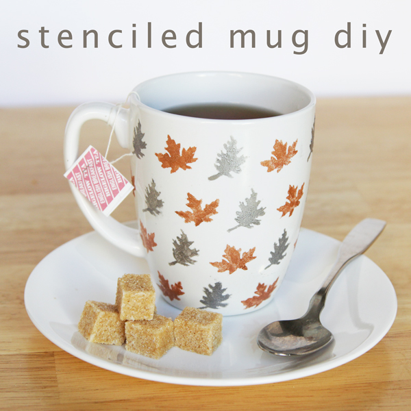 Stenciled Leaf Mug DIY | Hands Occupied