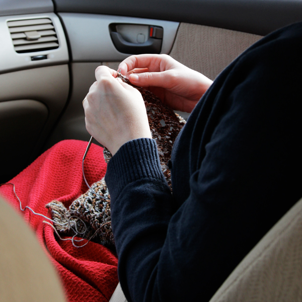 Knitting in a car