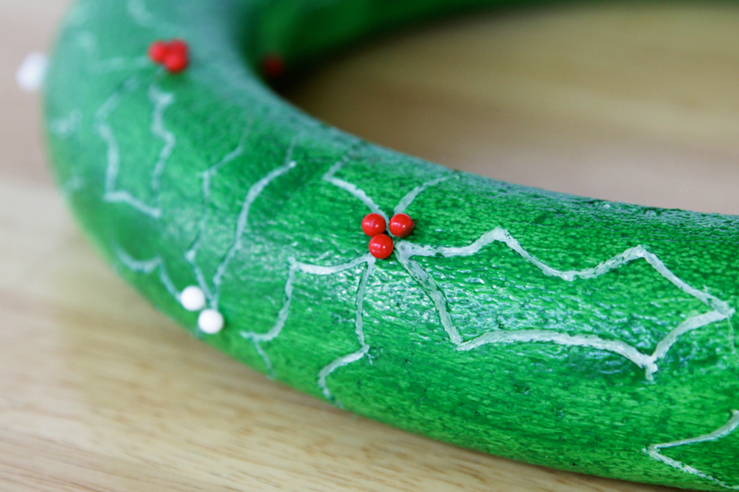 Carved Styrofoam Holly Wreath DIY at Hands Occupied