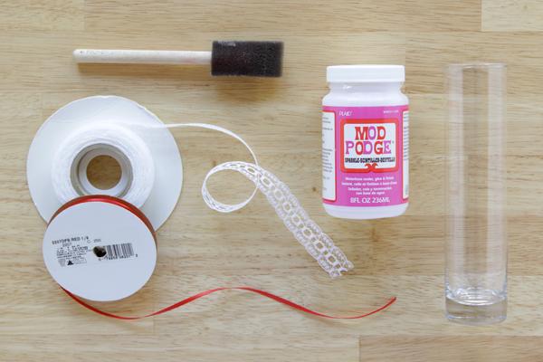 Simple Mod Podge Ribbon Vase DIY