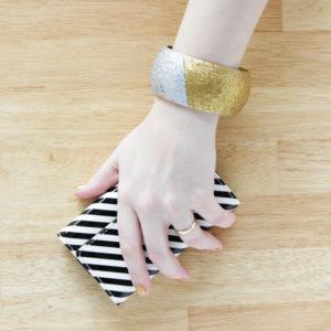 DIY Color Blocked Glitter Bangle Bracelet