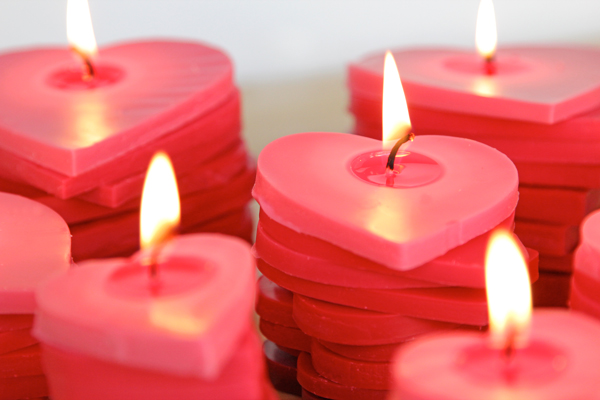 Stacked Ombre Heart Candles at Hands Occupied