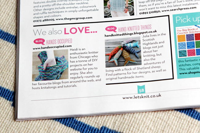 Hands Occupied in Let's Knit Magazine - July 2014 at Hands Occupied