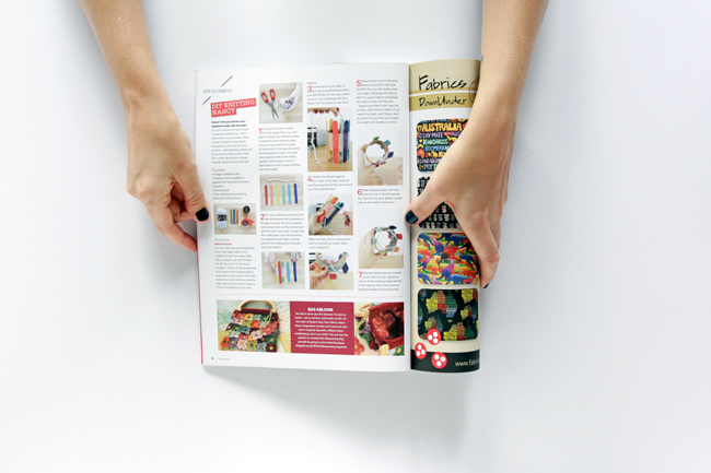 Hands Occupied's DIY Knitting Nancy in Homespun Magazine