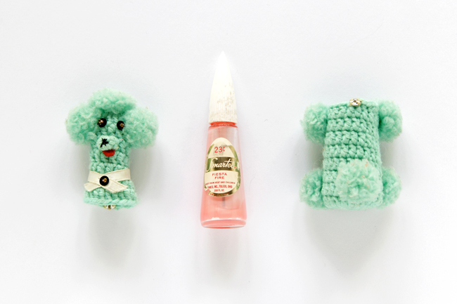 Vintage Crochet Poodle Nail Polish Cover Amigurumi via handsoccupied.com