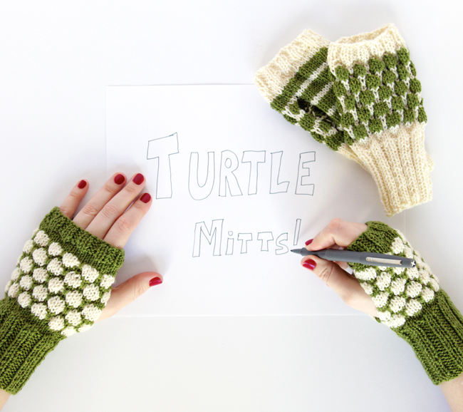 Cast on a pair of Turtle Mitts, the cute new pattern from Heidi Gustad of Hands Occupied