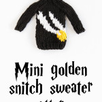 A free knitting pattern for a mini golden snitch sweater, inspired by the sweater Harry gets in book six!