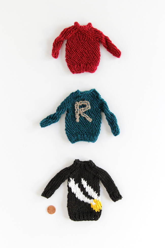 A collection of mini Weasley sweaters inspired by Harry Potter.
