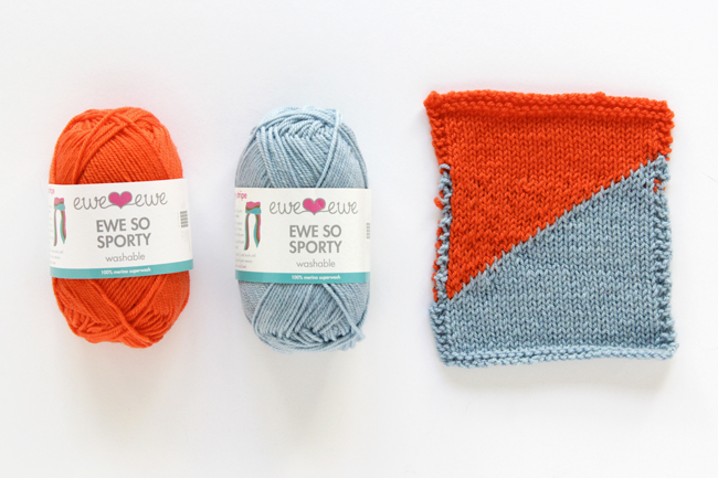 Ewe Ewe Yarn's Ewe So Sporty yarn in Orange Peel & Sky Blue
