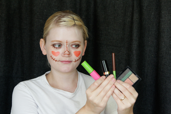 How to do scarecrow makeup with what's in your makeup bag. No makeup skills required!