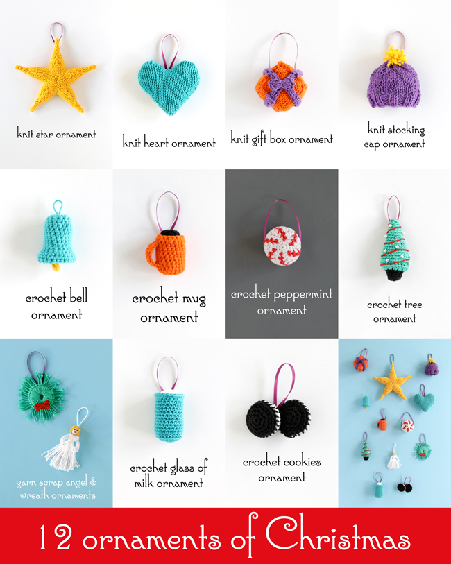 Check out the 12 ornaments of Christmas from Hands Occupied for free knitting and crochet patterns, yarn craft tutorials and clever holiday inspiration!