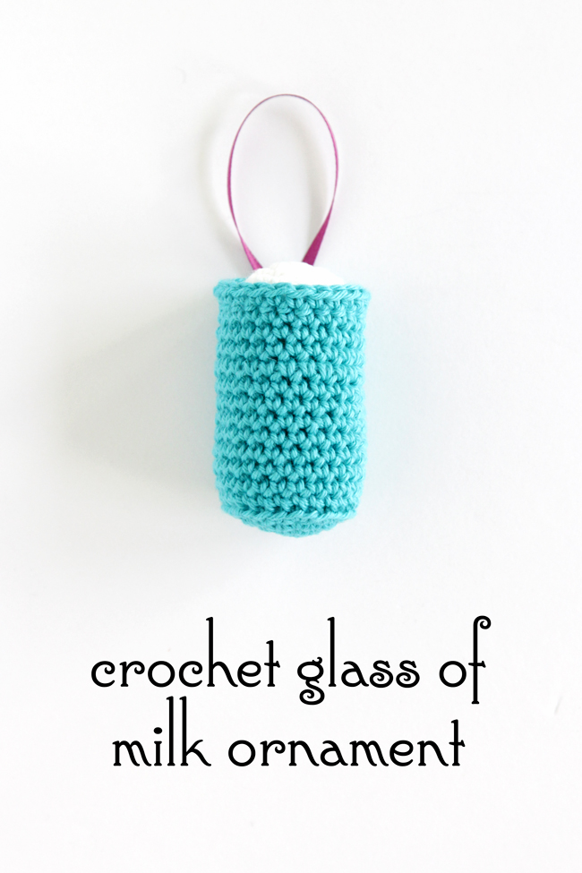 Click through for the free pattern for this glass of milk Christmas ornament.