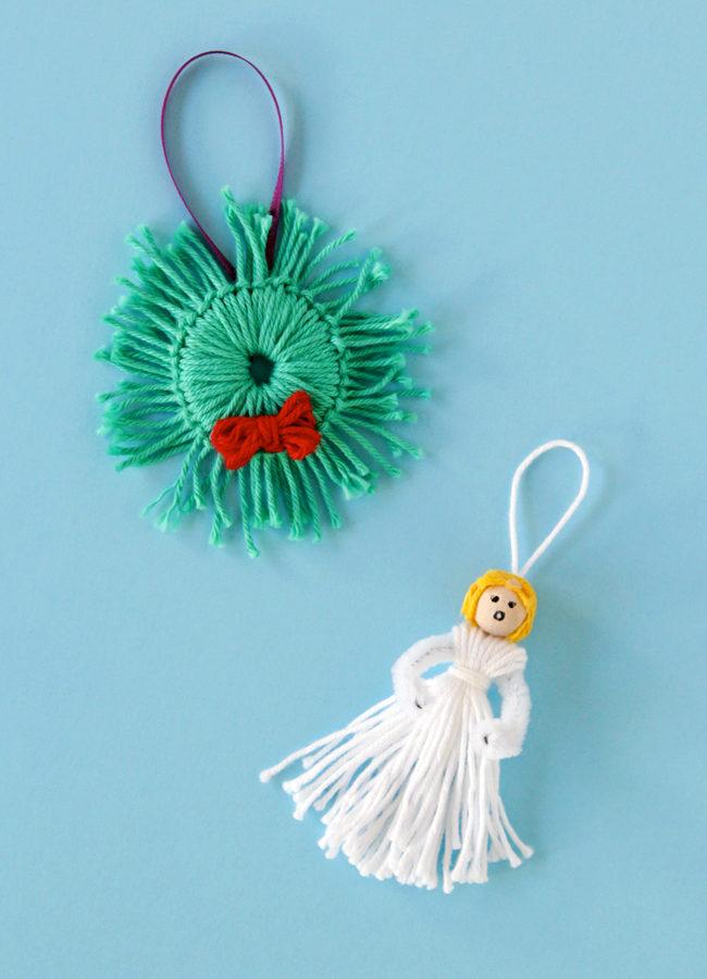 Yarn Scrap Wreath & Angel – 12 Ornaments of Christmas