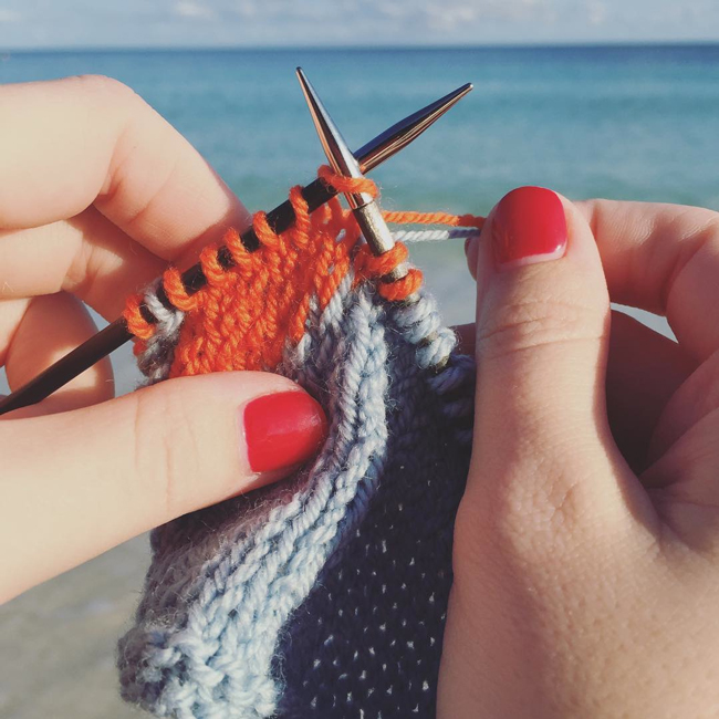 Knitting on the beach in Freeport, Bahamas