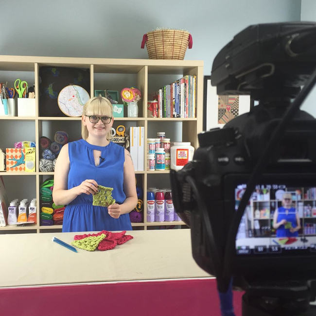 Heidi Gustad hosting videos in the AllFreeKnitting studio.