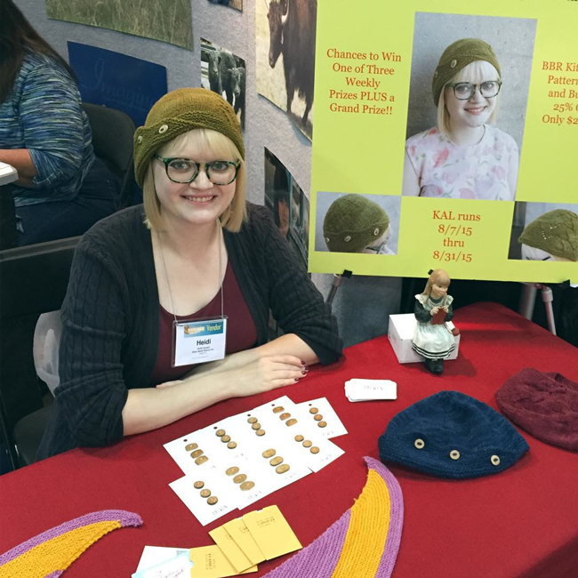 Heidi Gustad at Stitches Midwest 2015 in the Bijou Basin Ranch booth.