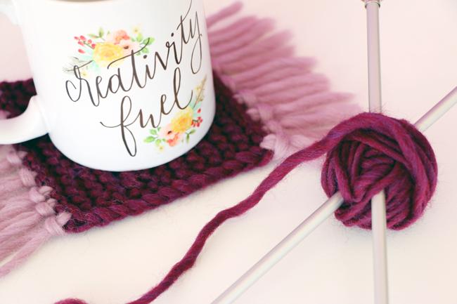 Knit Mug Rugs Pattern - Heidi Gustad for Blitsy