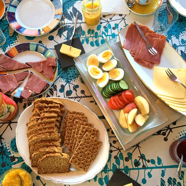 A full spread at Icelandic breakfast.