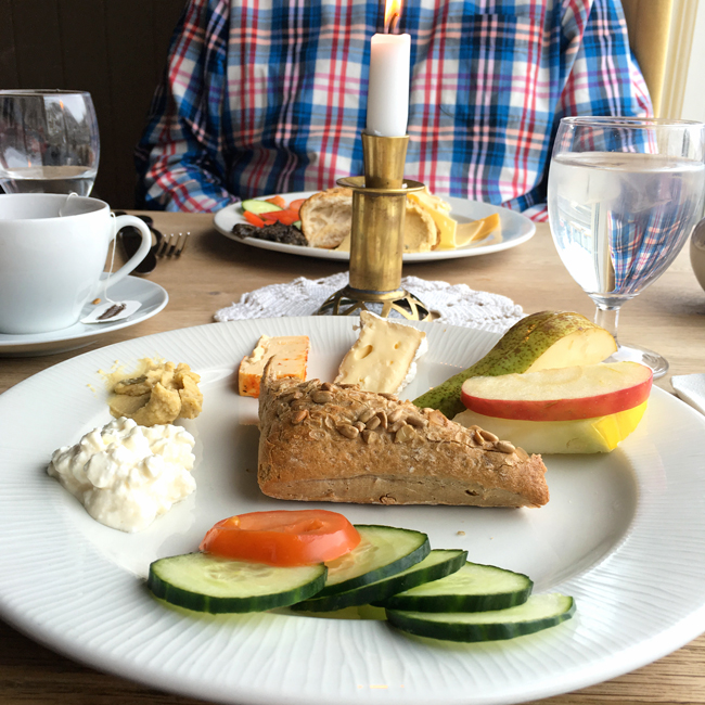 Breakfast in Iceland consists of lots of fruit, cheese, bread and veggies!