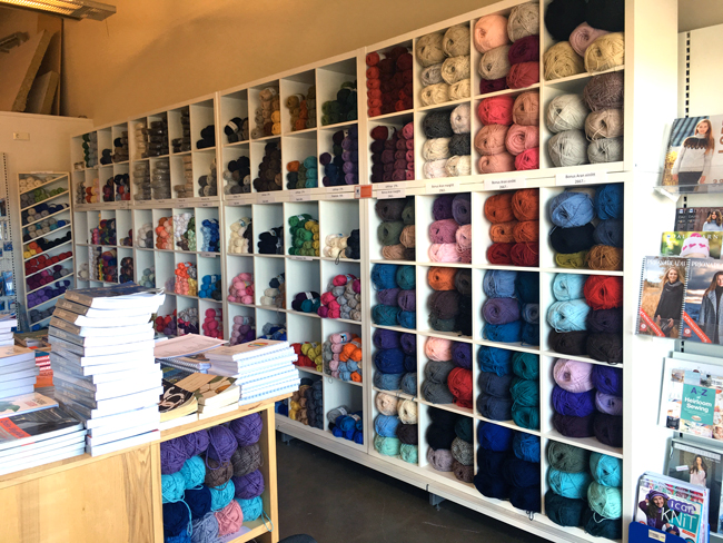The yarn section at A4 in Egilsstaðir, Iceland.
