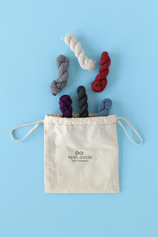 6 mini skeins of Feel Good Yarn Company's SilverSpun Sport and a sweet little project bag.