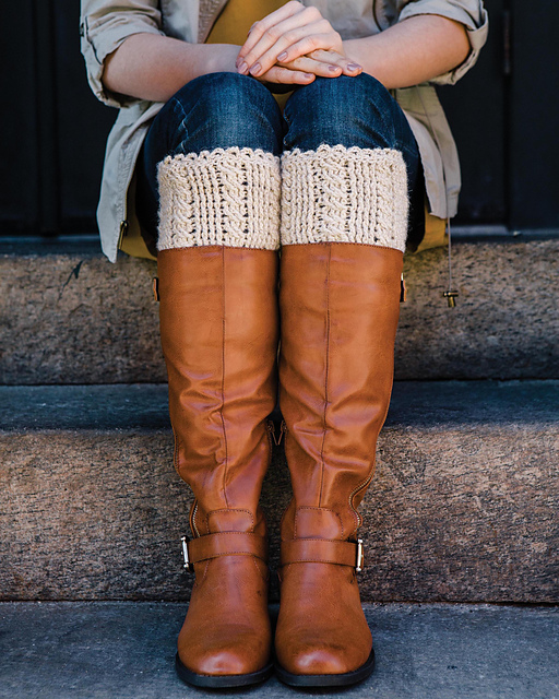 Cabled Boot Cuffs by Bonnie Barker