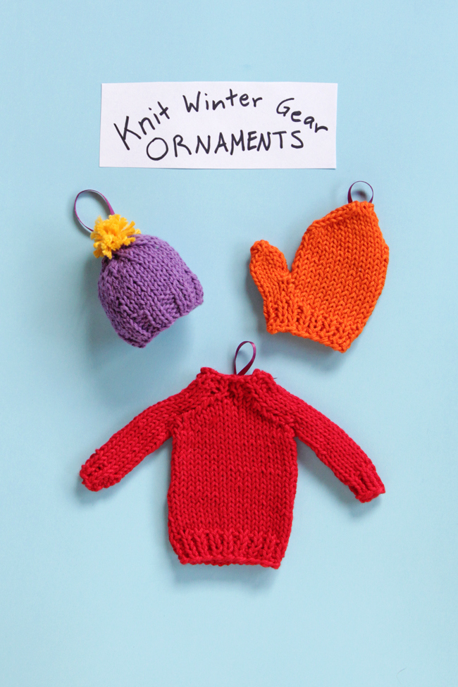 Knit Winter Gear Ornaments Three Ways