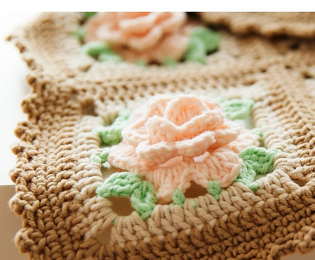 crochet blanket afghan with roses by marifu6a