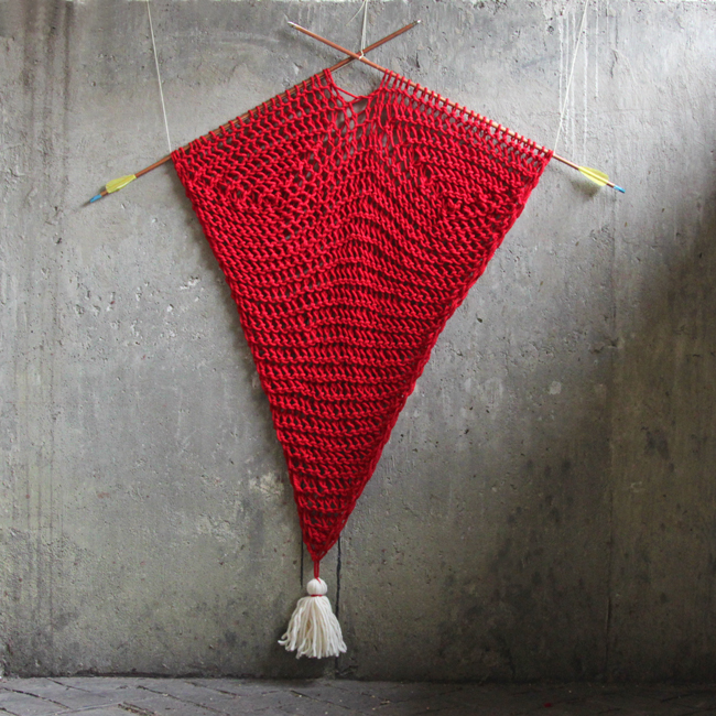 Hanging Heart Knitting Pattern : Shot Through the Heart - Knit Wall Hanging Pattern Hands ...