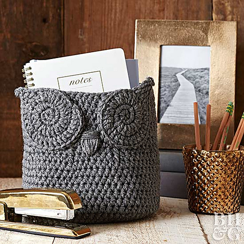 Crochet Owl Basket by Delta Joy