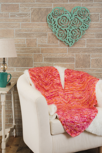 Happy Heart Blanket by Heidi Gustad, first published in the Feb. 2018 issue of I Like Knitting magazine