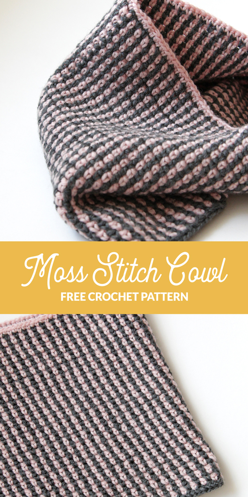 This cute, two-color cowl is crocheted with just two 50g balls of 100% wool yarn. Get the free Moss Stitch Cowl pattern from Hands Occupied.