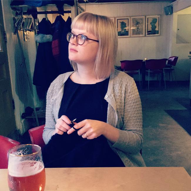 Knit Designer Heidi Gustad working on her Icelandic lopapeysa sweater in Seyðisfjörður.