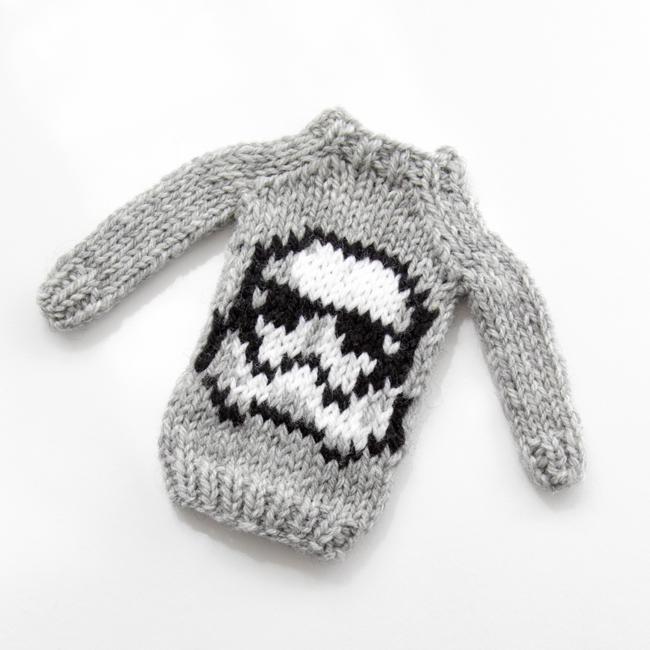 Mini Storm Helmet Sweater by Heidi Gustad, designed as part of Fandom Fibers' inaugural collection.
